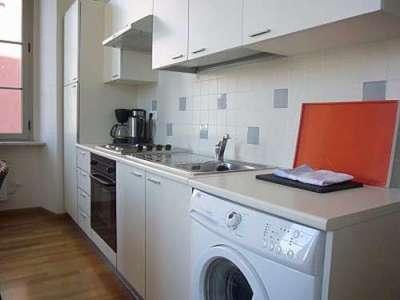 стиральная машина с фронтальной загрузкой в интерьере кухни
