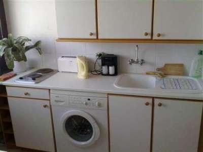 стиральная машина в интерьере кухни под столешницей