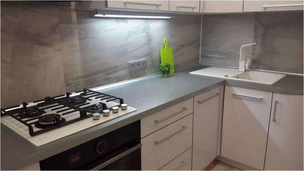 угловой шкаф под белую мойку на кухне