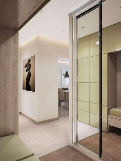зеркальный шкаф купе для узкого коридора