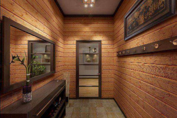 оббивка стен ламелями в узком коридоре