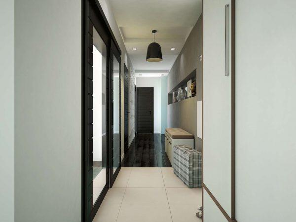 белые стены в узком коридоре