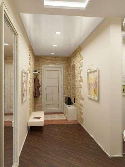 натяжной белый потолок в интерьере узкого коридора