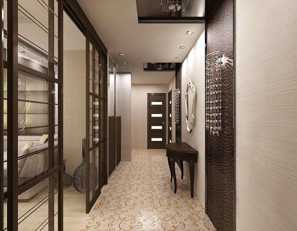 раздвижные двери в интерьере узкого коридора
