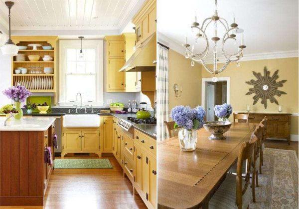 жёлтый в интерьере классической кухни