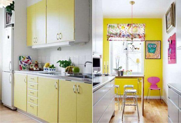 жёлтый цвет в интерьере кухни с белой мебелью
