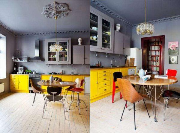 жёлтый цвет в сочетании с серым в интерьере кухни