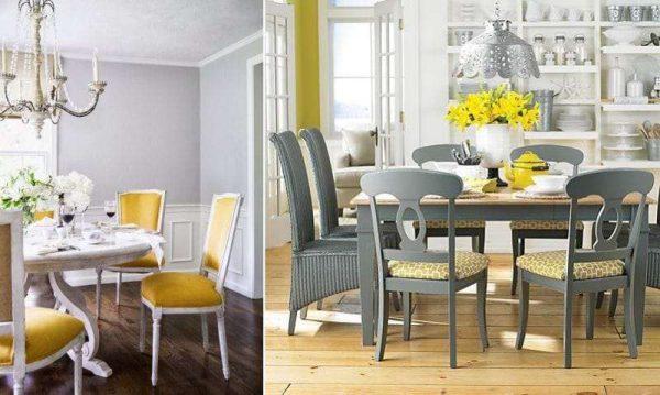 жёлтый с серым на кухне