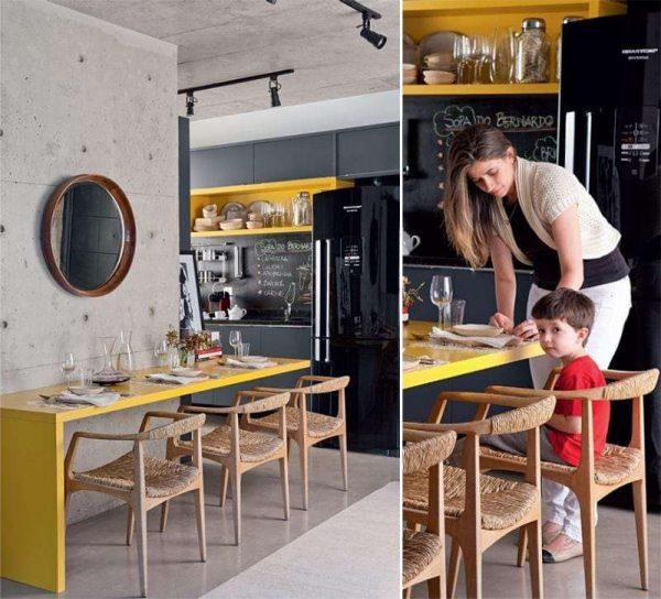 жёлтый с чёрным на кухне