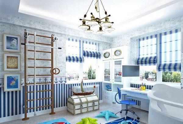 интерьер детской комнаты мальчика в морском стиле