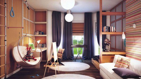 интерьер коричневой комнаты мальчика