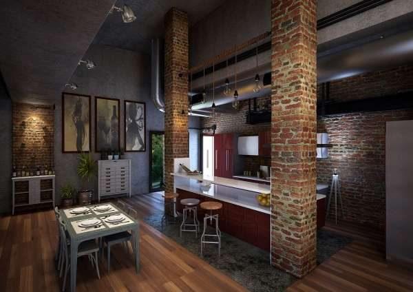 интерьер кухни с газовым котлом в стиле лофт