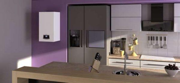 стильный белый газовой котёл на стене кухни