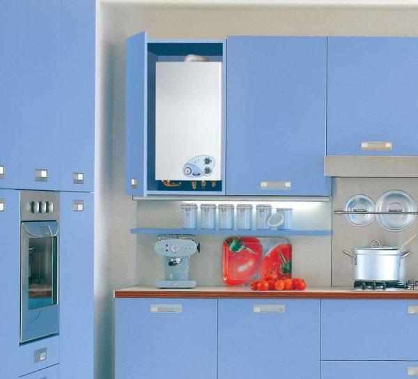 газовой котёл на голубой кухне