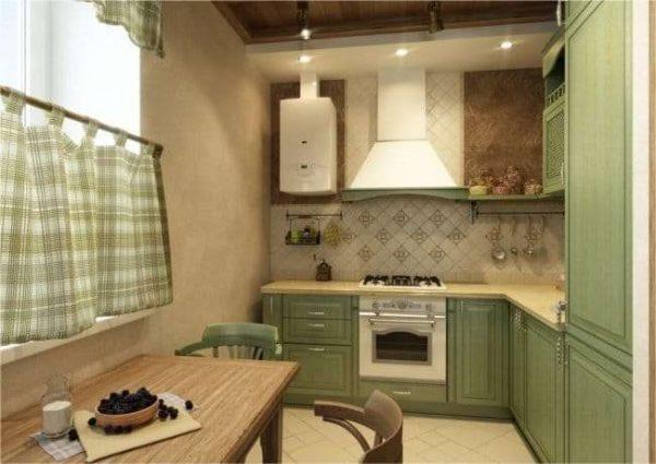 газовой котёл на кухне в стиле кантри