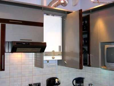 газовой котёл в шкафчике на кухне
