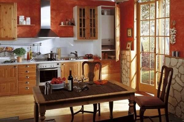 Дизайн кухни с газовым котлом в шкафу
