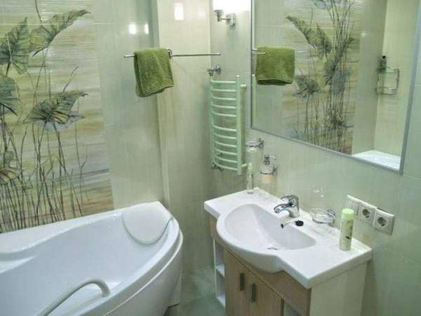 интерьер зелёной ванной комнаты