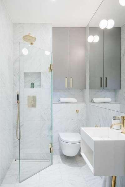 интерьер светлой ванной комнаты
