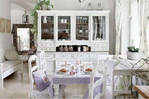 сиреневый цвет на кухне прованс