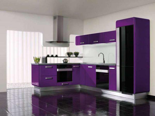 сиреневый цвет в интерьере кухни в стиле минимализм