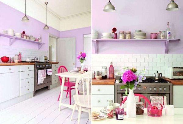 сиреневый цвет с ярким декором на кухне