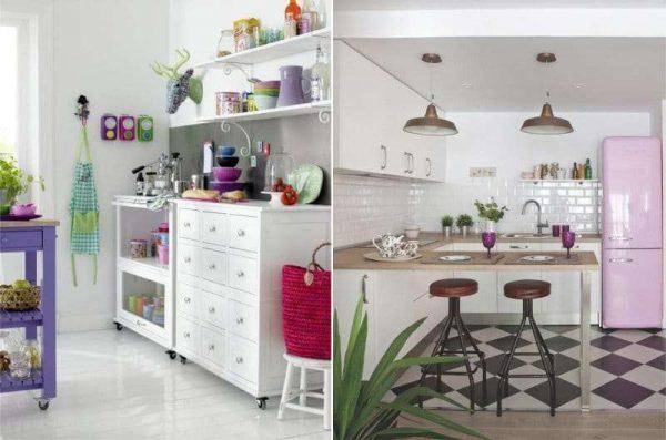 сиреневый цвет с белым в интерьере кухни
