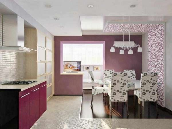 сиреневый цвет на кухне