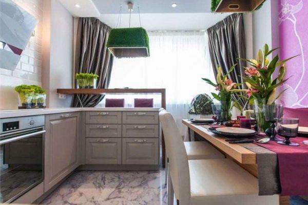 сиреневый цвет на стенах кухни