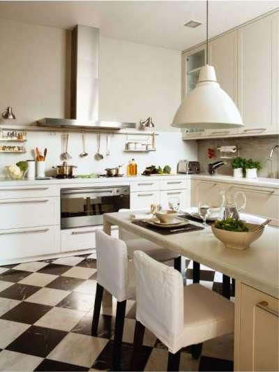 угловой гарнитур на кухне столовой гостиной
