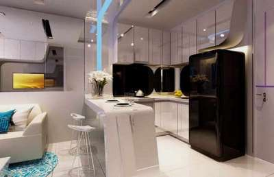 барная стойка на кухне гостиной столовой