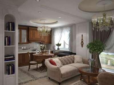 классический интерьер кухни гостиной столовой