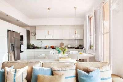 Кухня-гостиная дизайн интерьер 25 м