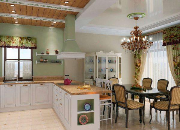 провнас стиль на кухне гостиной