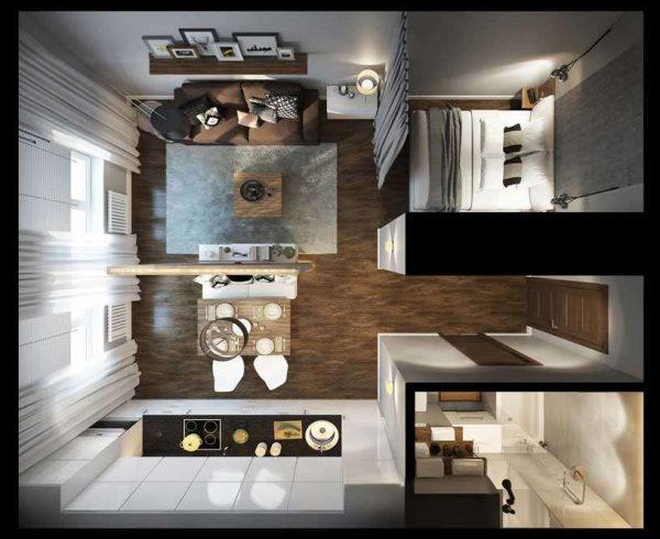 кухня гостиная столовая в 3Д