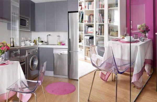 интерьер фиолетовой маленькой кухни