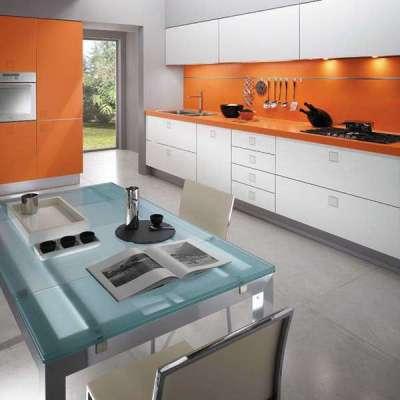 стильный оранжевый на кухне