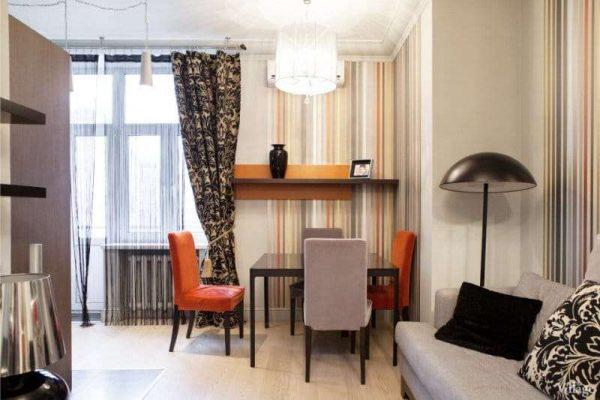 оранжевые стулья на кухне