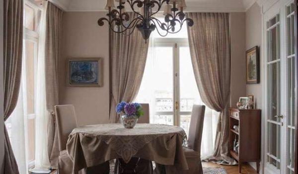 льняные шторы прямые на кухне