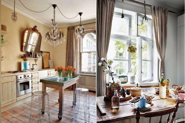 шторы классического кроя на кухне