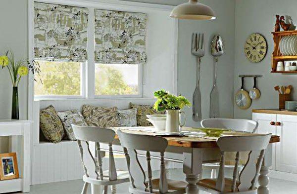 римские шторы в интерьере кухни в эркере