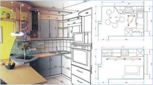 проект кухни от руки