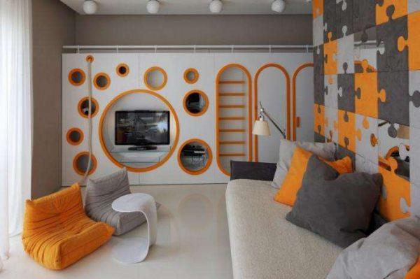 телевизор в интерьере детской комнаты для мальчика