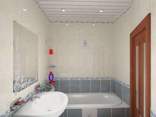 панели пвх на потолке в ванной