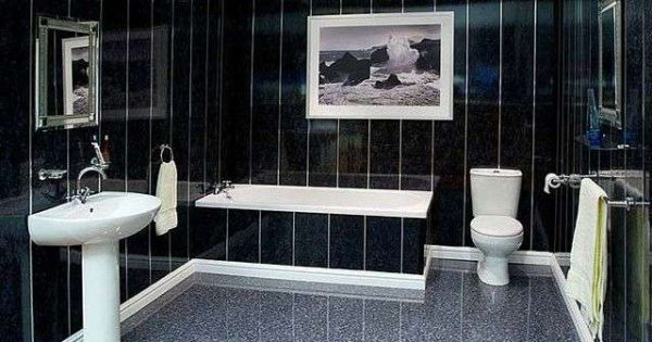 интерьер ванной в хрущёвке с чёрной плиткой