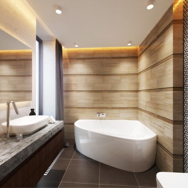 интерьер ванной комнаты в хрущёвке с углововй ванной