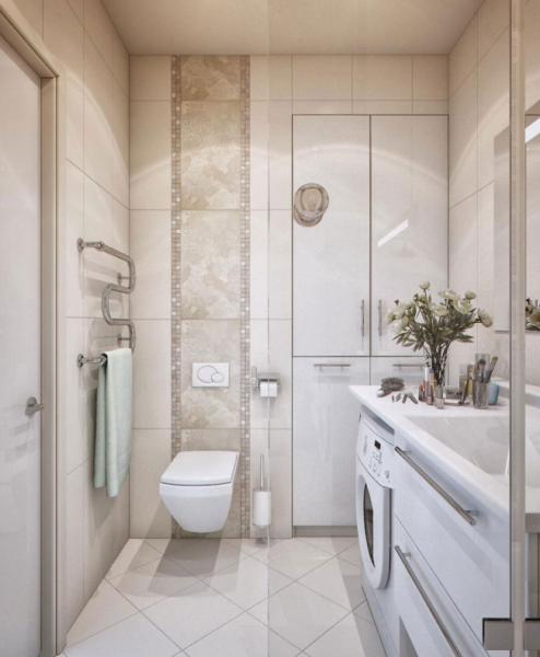 бежевая плитка в дизайне ванной в хрущёвке