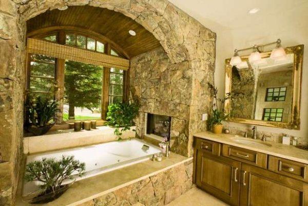 дизайн ванной комнаты с камнем