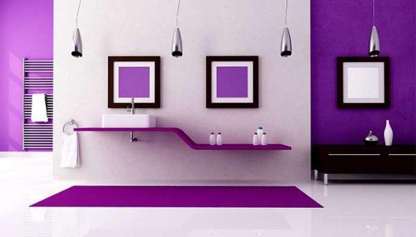 стильный интерьер ванной комнаты с покраской стен