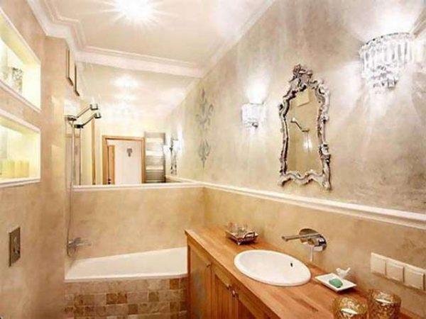 интерьер ванной комнаты со штукатуркой